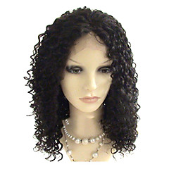 14inch Brasilian Virgin Hiukset Full Lace Wig Afro Curl Natural Black Dyeable