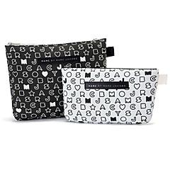 2PCS Black&White Letter Pattern Briefcase Shaped Thicken Make up/Cosmetics Bag Set Cosmetics Storage