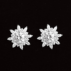 Stud Earrings Women's Platinum Earring Cubic Zirconia