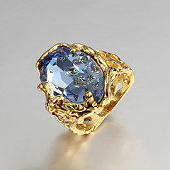 Statement Rings Engagement Ring Love Luxury Cubic Zirconia Gold Plated 18K gold Jewelry Blue Jewelry For Wedding Party Gift Daily Casual