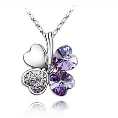 Women's Pendant Necklaces Four Leaf Clover Crystal Rhinestone Platinum Plated Alloy Basic Fashion Simple StyleYellow Red Green Blue