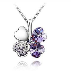 Žene Ogrlice s privjeskom Djetelina sa četiri lista Kristal Umjetno drago kamenje Platinum Plated Legura Osnovni dizajn Moda Simple Style