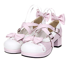 Sapatos Doce Princesa Salto Alto Sapatos Laço 4.5 CM Branco / Rosa Para Feminino Couro PU/Couro de Poliuretano