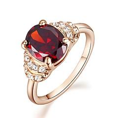 Maxi anel Cristal Imitação de Diamante Chapeado Dourado imitação de diamante Pedras dos signos Vermelho Jóias Casamento Festa Casual