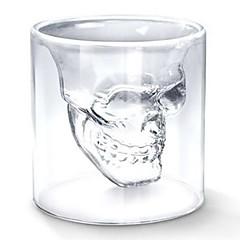 Hűvös átlátható kreatív ijesztő koponya fej kialakítás újdonság drinkware bor kupica csésze 75ml