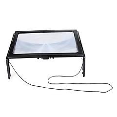 Ultradünne A4 Ausführliche Große PVC Magnifier 3X Faltbare Lupe Loupe Hände frei für die Lesung mit 4 LED-Leuchten