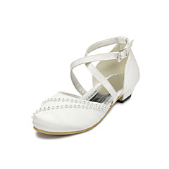 Satin Flower Girls' Wedding Flat Heel Comfort Flats with Rhinestone Shoes(More colors)