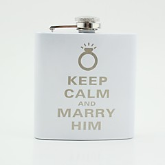 Gift Groomsman Personalized White Stainless Steel 6-oz Flask