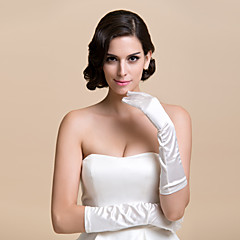 Elbow Length Fingertips Glove Satin Bridal Gloves / Party/ Evening Gloves Spring / Fall / Winter Black / White