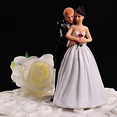 Cake Topper Non-personalized Classic Couple Resin Wedding Flowers White / Black Floral Theme / Classic Theme Gift Box