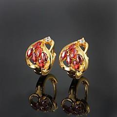 Amazing Brass Yellow Gold Plated with Cubic Zirconia Girls' Earrings(More Colors)