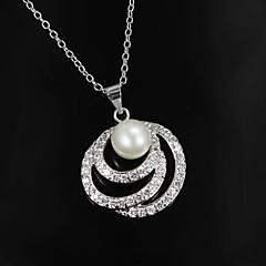 Indien Style Brass Silver pläterad med Oäkta Pearl Kvinnors Halsband