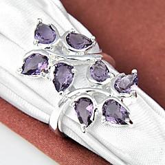 Unique Amethyst Gemstone Silver Ring 1PC