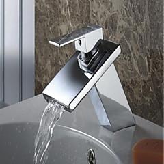 Zeitgenössisch Mittellage Wasserfall with  Keramisches Ventil Einhand Ein Loch for  Chrom , Waschbecken Wasserhahn