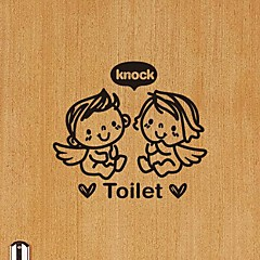 Wandaufkleber modernes Bad pvc Wandtattoos Engel klopfen die Toilette