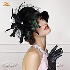 lindo senhoras de lã de casamento / festa / chapéu ao ar livre com penas e cristais