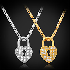 U7®Vintage Luxury Heart Lock Charm Pendant Necklace 18K Real Gold Platinum Plated Jewelry Gift for Women