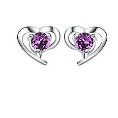 Women's Silver Heart Stud Earrings With Cubic Zirconia