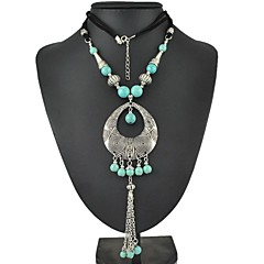 Bohemia Carving And Turquoise Water-Drop Long Chain Necklace