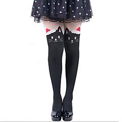 Sokken en kousen Schattig Lolita Prinses Zwart Lolita Accessoires Kousen Dierenprint Voor Dames Fluweel