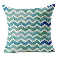 blå geometrisk mønster bomuld / hør dekorative pudebetræk