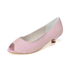 Women's Spring / Summer / Fall / Winter Peep Toe / Mary Jane Lace Wedding / Party & Evening Low Heel Black / Blue / Pink / Ivory / White