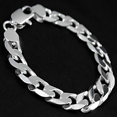 12mm 8 Inches of Men's Silver Plated Bracelet