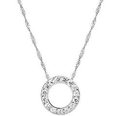 unisex silver Strass rund kedja hänge halsband