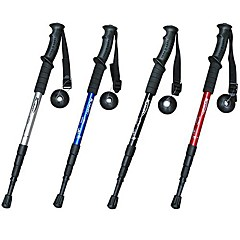 4 Sections Folding Straight Type Functional Hiking Poles (Random Color)