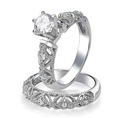 Vintage Filigree Design CZ Engagement Ring Set