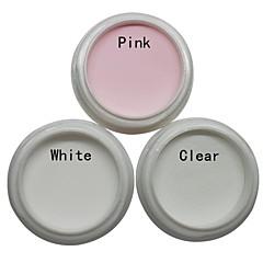 3 stk spiker kunst akryl pulver sett (hvit, rosa, klar)
