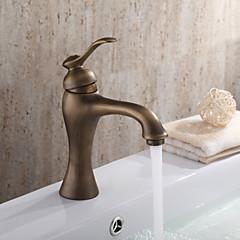 Traditionell Mittellage Keramisches Ventil Einhand Ein Loch with Antikes Messing Waschbecken Wasserhahn