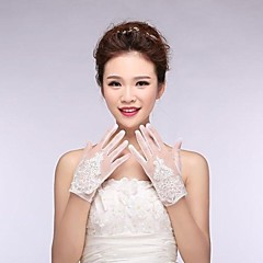 Ivory Tulle  Fingertips Wrist Length Wedding Gloves with Applique with Beading ASG9
