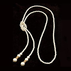 European Style høj kvalitet efterligning perler enkel lang halskæde (flere farver)