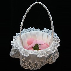 elegante Blumenkorb in weißen Satin und Spitze Blumenmädchen Korb