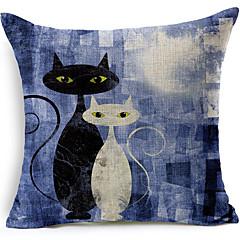 sorte og hvide katte bomuld / linned trykt dekorative pudebetræk