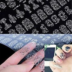 1x 108 pcs 3d prata arte da flor do prego etiquetas