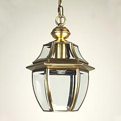 european-style retro 1 licht hanger met transparante glazen kap