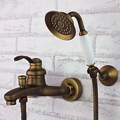 Antik Kifolyócső és zuhany Kézi zuhanyzót tartalmaz with  Kerámiaszelep Egy fogantyú három lyuk for  Antik bronz , Kád csaptelep