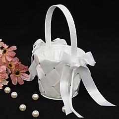 Blumenkorb in weißem Satin mit Schleife Blumenmädchen Korb