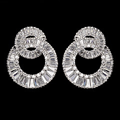 Silver Alloy With Cubic Zirconia  Wedding Earrings