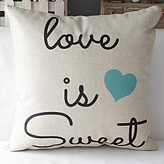 moderne stil, romantisk ord blå hjerte mønstret bomuld / linned dekorative pudebetræk