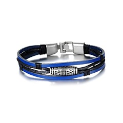 Fashion Men's Black and Blue Alloy Leather Bracelet(1 Pc)