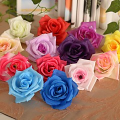 """2,8 """"l einfache Rosen Köpfe Seidentuch Blumen 6 Stück"""