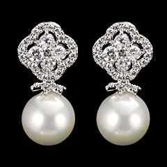 Silver Alloy Cubic Zirconia  Wedding Earrings With Imitation Pearl