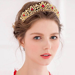 Gloden Gorgeous Rhinestones Wedding/Party Headpieces/Tiaras with Crystals