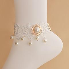 pérola fêmea tornozeleiras laço branco banhado a ouro