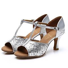 Customizable Women's Dance Shoes Latin / Salsa / Samba Paillette Customized Heel Black / Silver / Gold / Other