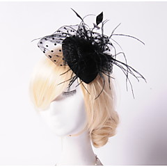 Women's Feather Pearl Net Headpiece-Wedding Special Occasion Outdoor Fascinators Hats 1 Piece