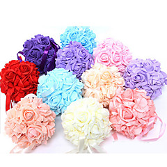 Wedding Décor 6 Inch Foam Santin Artifiical Kissing Rose Flowers Balls  Bouquet Car Decoration